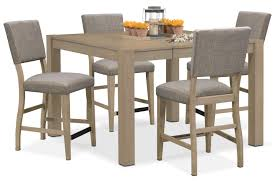 tribeca counter height table and 4 upholstered side chairs gray