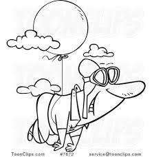 cartoon black and white line drawing of a guy floating through the