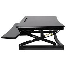 contemporary ergonomic sit stand desktop workstation stand black