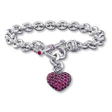 bracelet with heart pendant images Kay dangling heart bracelet lab created ruby sterling silver jpg