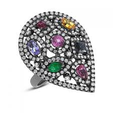 multi gemstone u0026 diamond ring 14k white gold with black rhodium