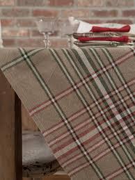 homespun plaid tablecloth linens kitchen