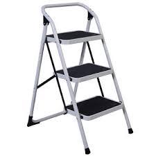 protable 3 step ladder folding non slip safety tread heavy duty