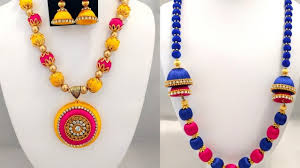 wood beads necklace designs images Beautiful silk thread jewellery designs bead necklace collection jpg