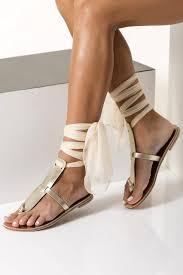 chaussures plates mariage sandales en cuir doré ivoire sandales sandales plates