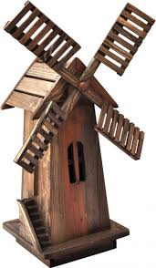 shineco wooden windmill in barnwood finish for the outdoors