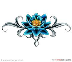 cool traditional lotus flower tattoo design