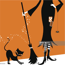 halloween witch and black cat retro vintage illustration vector