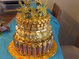 golden birthday candy cake empty christmas cookie tins wrapped in