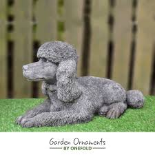 poodle garden ornament statue onefold uk