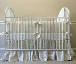 cream baby bedding with leaf shaped ties neutral baby bedding