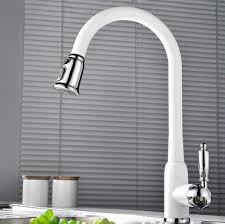 white pull kitchen faucet best quality brass white painted kitchen pull out sink tap tb3013