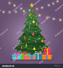 Christmas Light Balls For Trees by Decorated Christmas Tree Gift Boxes Star Stock Vector 489971164