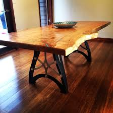 live edge table with turquoise inlay handcrafted vintage industrial steunk metal legs live edge