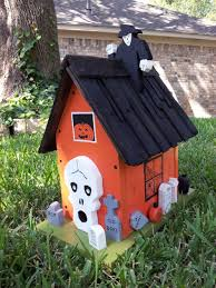 cool 4 pc halloween birdhouses ghosts pumpkins tombstones orange