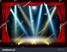 spotlight theatre stage coloured spotlights red stock vector