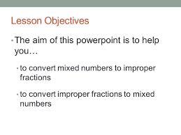 mathematics converting between mixed numbers and improper