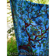 Indian Inspired Bedding Tree Of Life Hippie Turquoise Blue Multi Twin Size Wall Decor Tapestry
