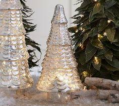 lit antique mercury glass trees from pottery barn i ve been