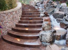 solar lights for deck steps motion sensor outdoor stair lights in a paved stairs besides a