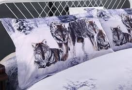Wolf Bed Sets 3d Snow Wolf In The Woods Printed Cotton 4 Bedding Sets