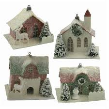 bethany lowe 4 mini traditional house ornaments