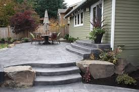 Stamped Concrete Backyard Ideas Fire Pits Design Fabulous Exterior Stacked Stone Floor Patio