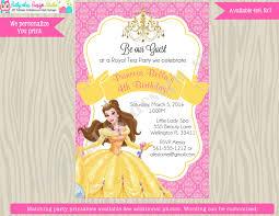 princess belle invitation invite belle birthday invitation