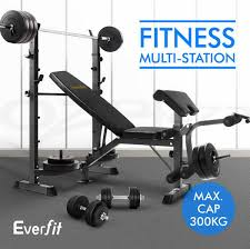multi station weight bench gym station press fitness weights