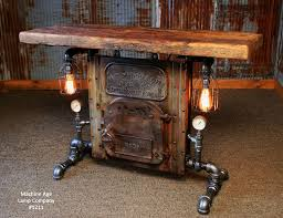 Steampunk Furniture Steampunk Industrial Table Antique Boiler Door Steam Gauge Barn