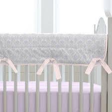 Lilac Damask Crib Bedding Lilac And Silver Gray Damask Crib Rail Cover Carousel Designs