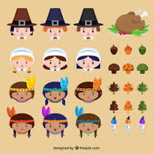 set of characters and traditional thanksgiving elements vector
