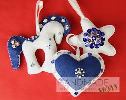 felt christmas ornaments set in white and blue