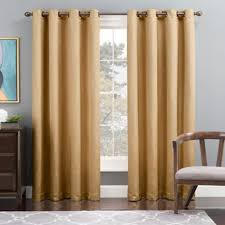 White Lined Curtain Panels Buy Gold Grommet Window Panel From Bed Bath U0026 Beyond