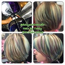 balayage highlights blonde purple teal and blue yelp