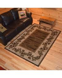 2 X 5 Area Rugs Spooktacular Savings On Rustic Lodge Pine Cone Border Cabin Brown