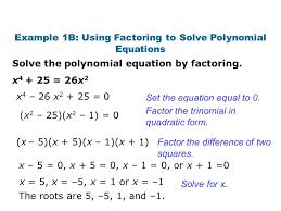 example 1b using factoring to solve polynomial equations