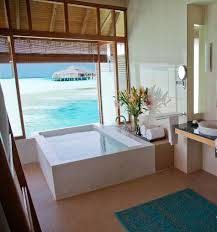 wonderful tropical bathroom small pool wooden floor acrylic full size of bathroom impressive tropical bathroom decor white free standing bathtub brown ceramic tile