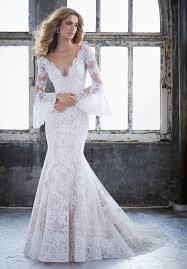 trumpet sleeve wedding dress morilee 8221 kendall lace bell sleeve fit flare wedding dress