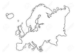 European Map Blank by Europe Outline Map With Shadow Detailed Mercator Projection