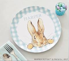 personalized photo plate beatrix potter easter personalized plate pottery barn kids