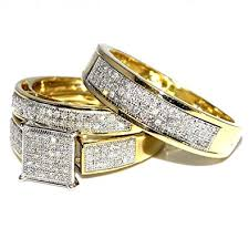 wedding bands sets his and hers his wedding rings set trio men women 10k yellow