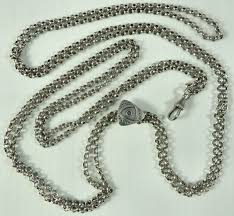 antique silver necklace chains images Long antique 60 inch ladies silver watch guard muff chain ian jpg