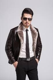 mens motorcycle biker leather outwear warm winter jacket fur coat
