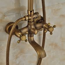scudders antique brass finish wall mounted rainfall shower set