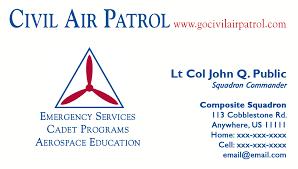 business card templates civil air patrol