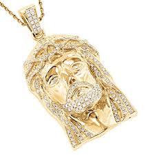 jesus necklace images Shop luxurman 14k gold 1 4 5ct tdw round diamond 39 jesus 39 pendant jpg