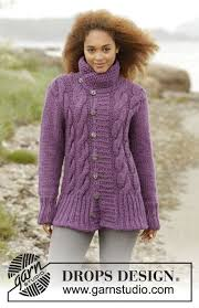 s sweater patterns knitted drops jacket with cables and collar in eskimo size s