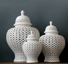 white ginger jar three pieces set chinese white color cutout porcelain ceramic vase