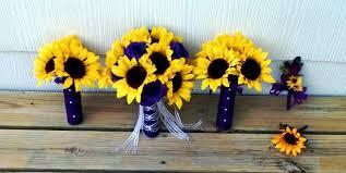 sunflower wedding bouquet 17 sunflower purple wedding bouquet flower set